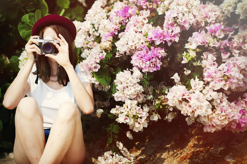 Girl Camera Photographer Focus Shooting Nature Concept stock images