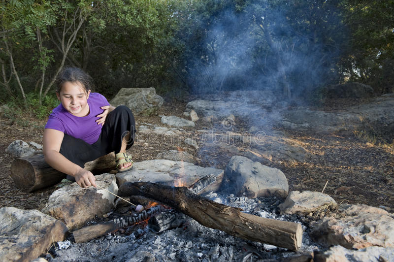 Download Girl  and campfire stock image. Image of cookout, nature - 15413605