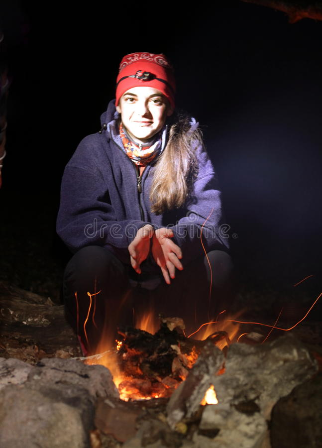 Girl in camping royalty free stock image