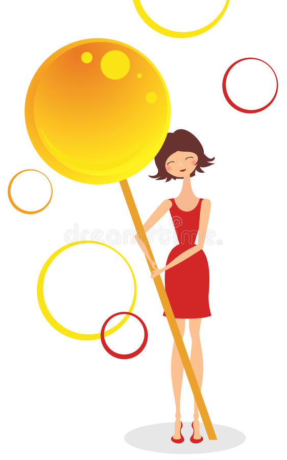 Download Girl with candy stock vector. Image of painting, cartoon - 25526578