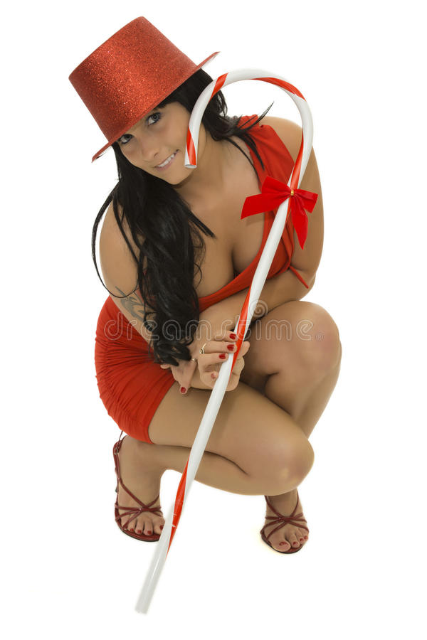 Girl with candy cane stock photos
