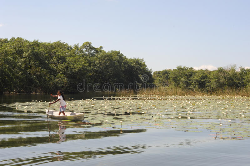 Girl on canoe at isla de las flores on river Dulce royalty free stock photo