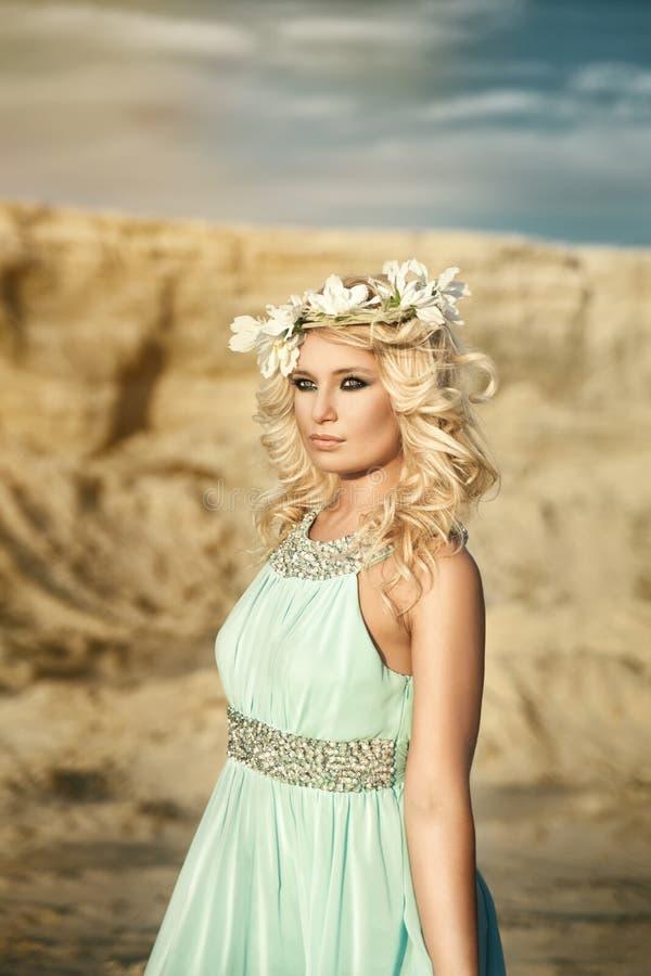 Girl, canyon, wreath royalty free stock photos