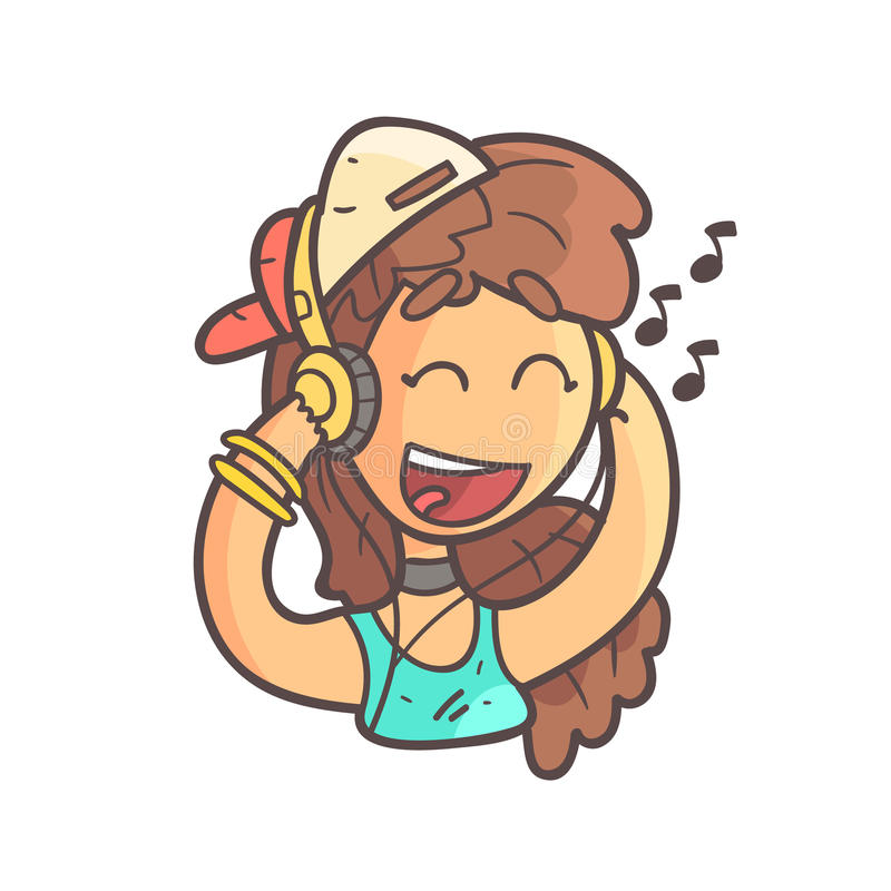 Girl In Cap, Choker And Blue Top Listening To Music Hand Drawn Emoji Cool Outlined Portrait royalty free illustration