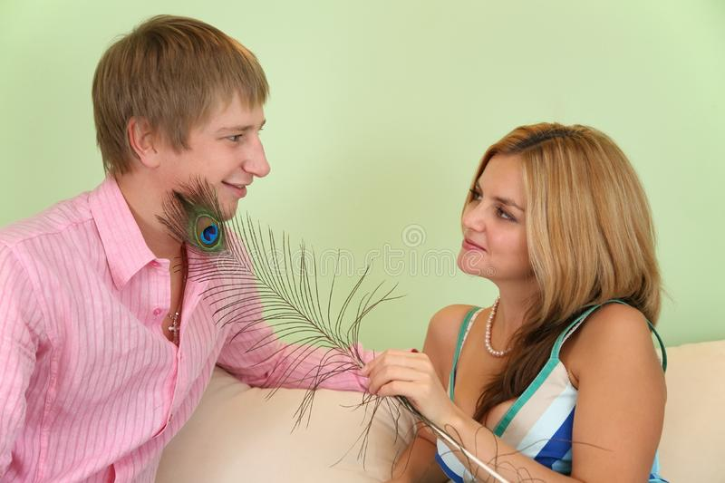 Download Girl Caress Fellow On Face By  Feather Stock Image - Image: 4039675
