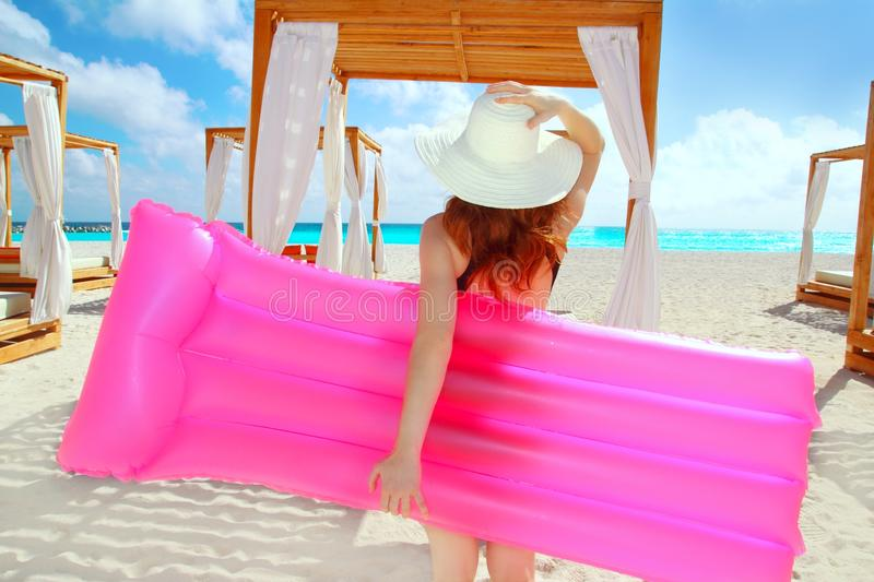 Girl In Caribbean Tropical Beach Stock Image