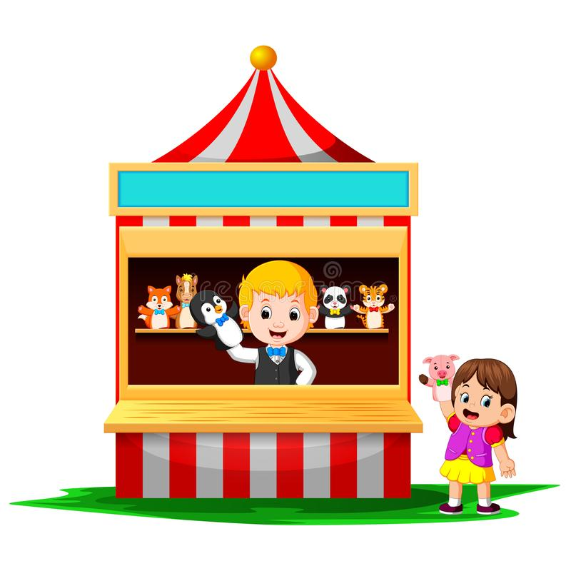 The girl in the carnival and wearing finger puppets is very cute royalty free illustration