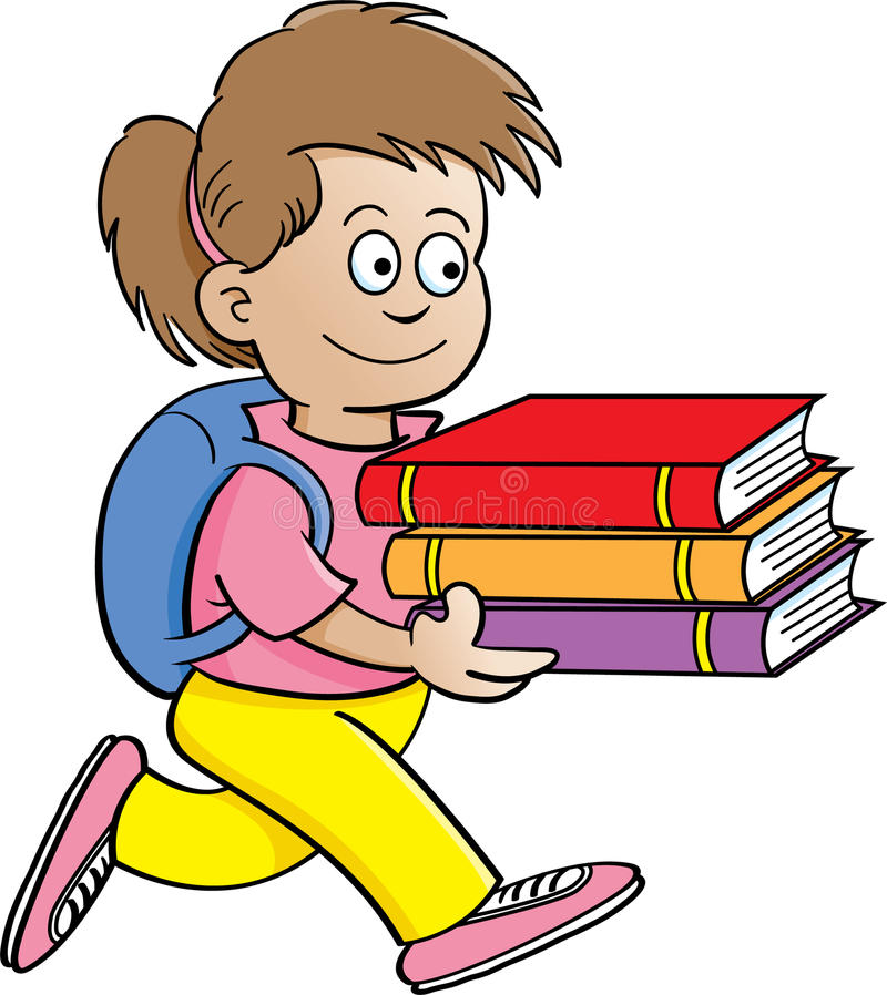 Download Girl carrying books stock vector. Image of education - 25496597