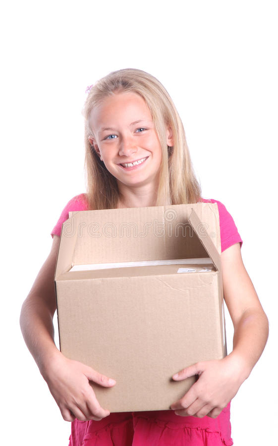 Download Girl carrying box stock image. Image of happy, helper - 20001789