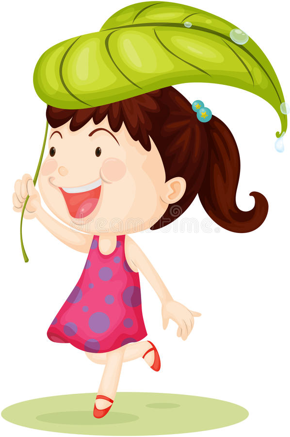 A Girl Carrying Leaf on Head royalty free illustration