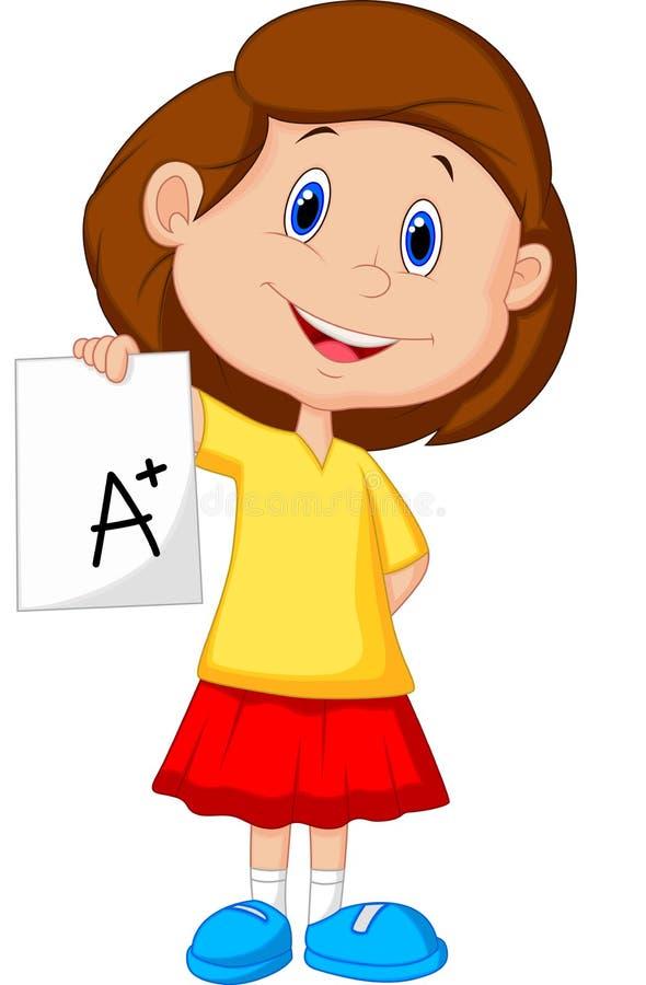 Girl cartoon showing A plus grade. Illustration of Girl cartoon showing A plus grade royalty free illustration
