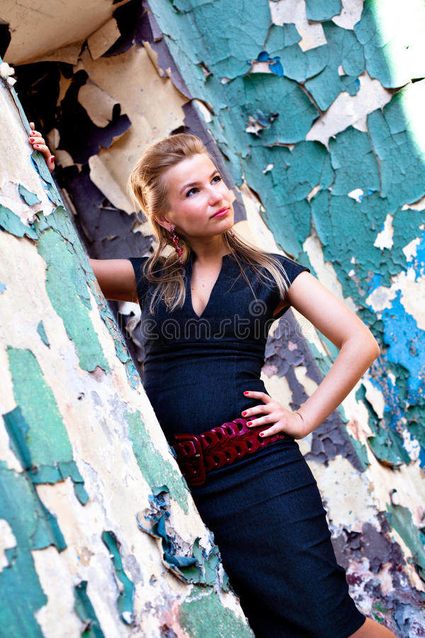 Download Girl In Case Dress Stay Near Wall Stock Photo - Image: 9519842