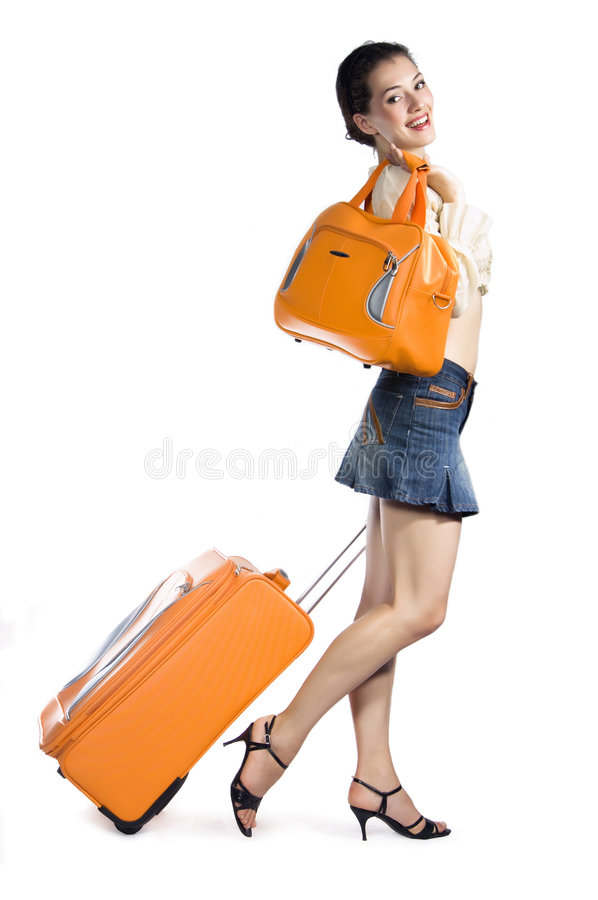 Girl with cases stock photography