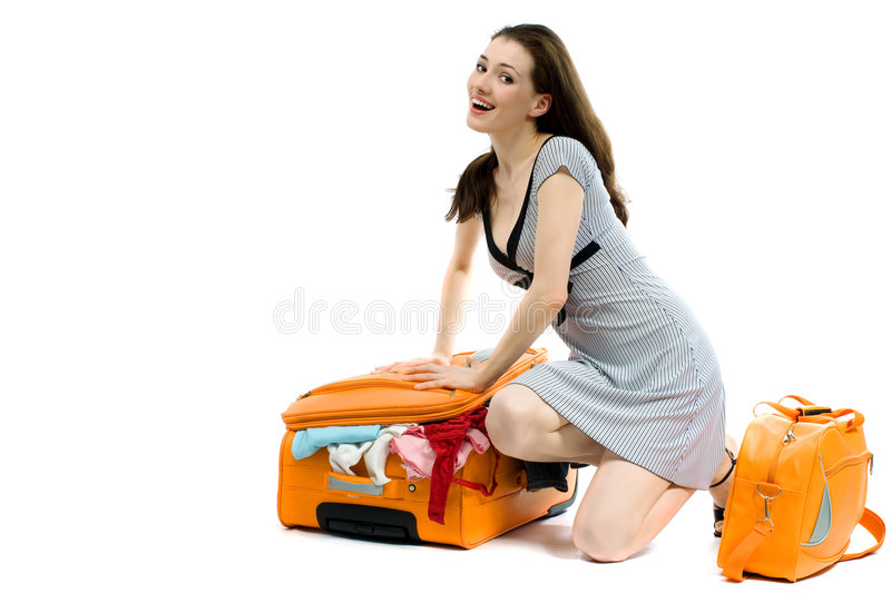 Girl with cases royalty free stock photo