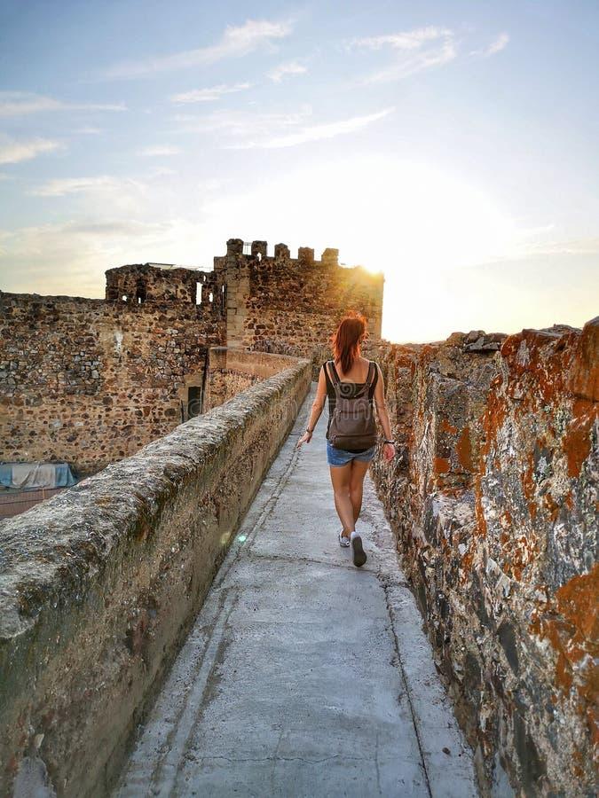 Girl castle Medellín stock photos