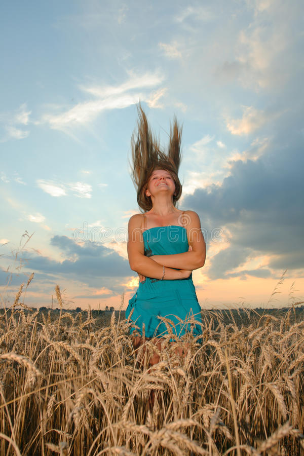 Download Girl With Casual Style Wear Against Sunset Sky Stock Photo - Image: 20542340