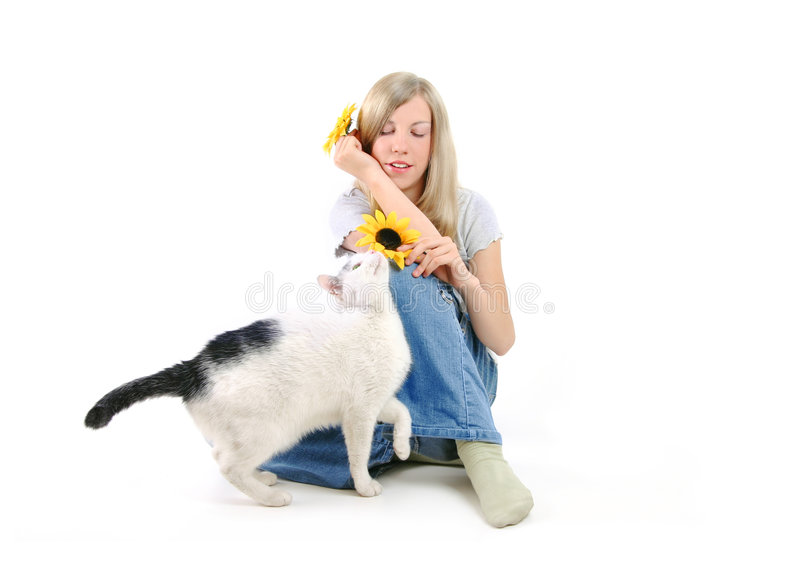 Download Girl And A Cat stock photo. Image of flowers, single, pets - 214106