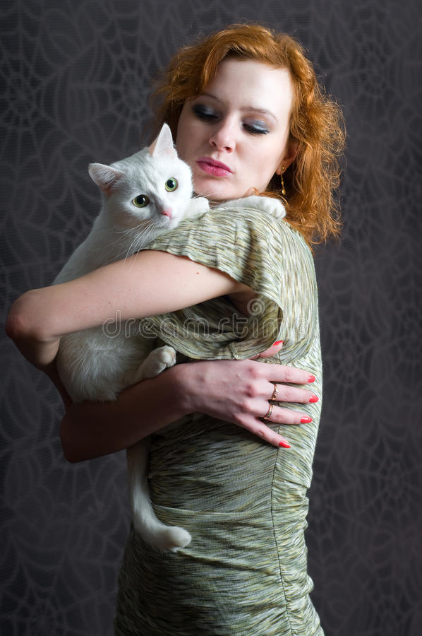 Girl And Cat Stock Images