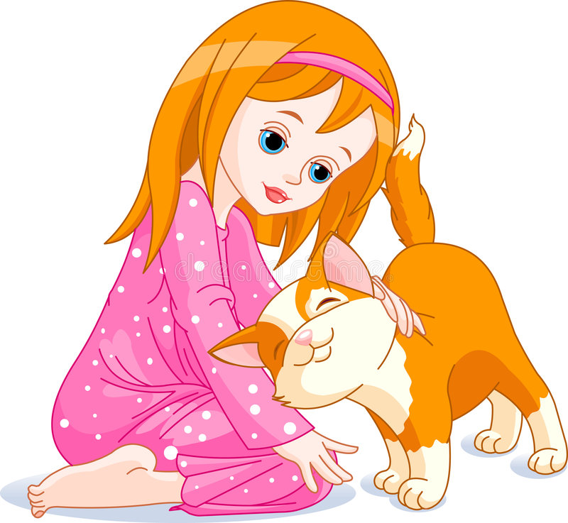 Download Girl and cat stock vector. Image of female, girl, isolated - 8039598