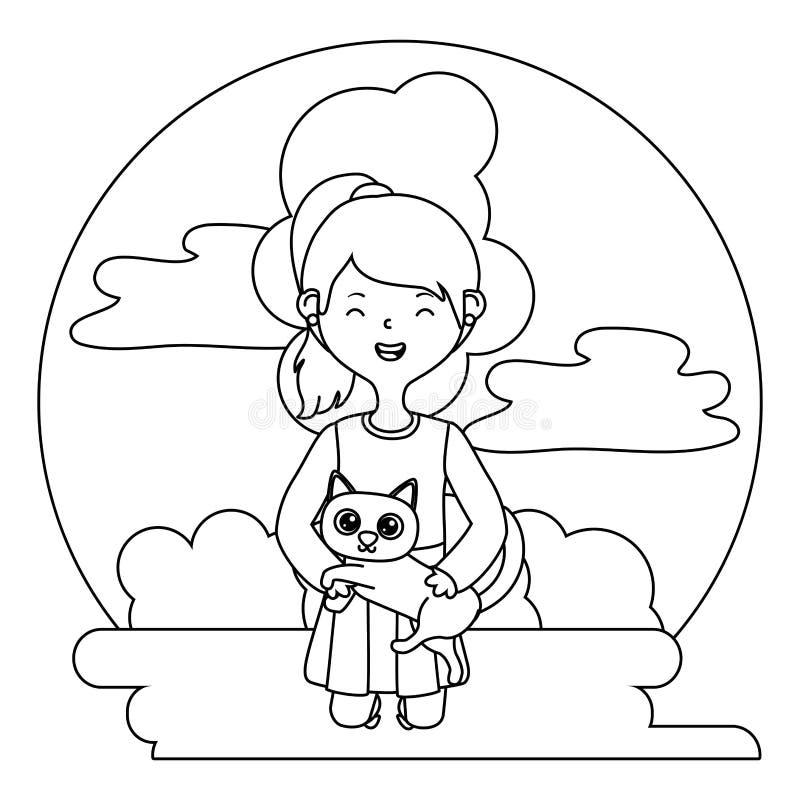 Girl with cat cartoon design stock illustration