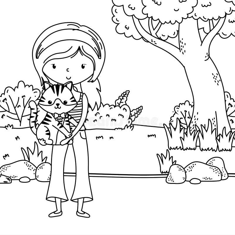 Girl with cat cartoon design vector illustration