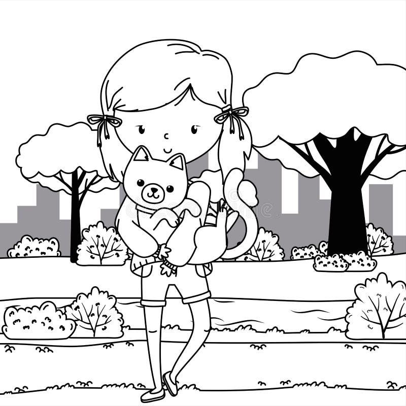 Girl with cat cartoon design royalty free illustration