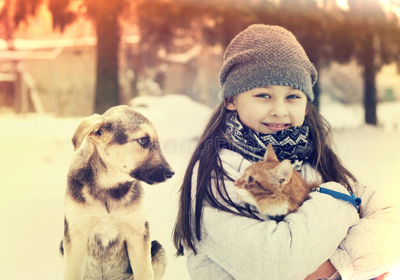 Girl and cat and dog. Instagram stock photo