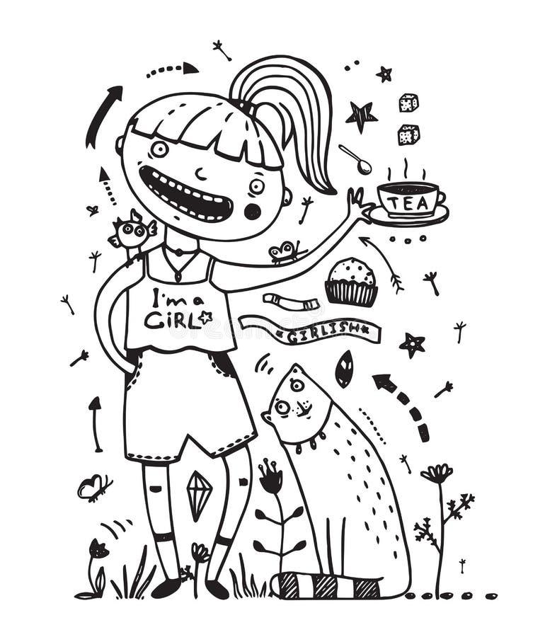Cute Feeding Dogs Funny Illustration Stock Vector