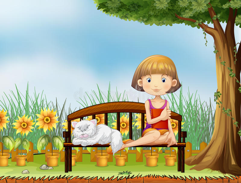 Download A Girl With A Cat In The Garden Stock Vector - Image: 31676198