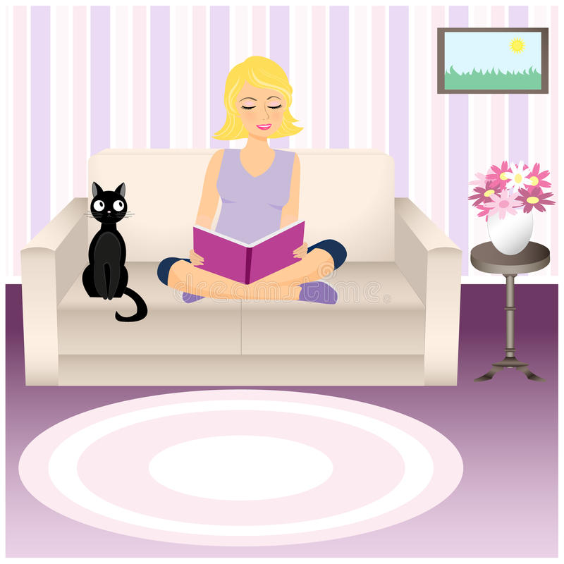 Download Girl and cat stock vector. Image of abstract, lady, magazine - 32745182