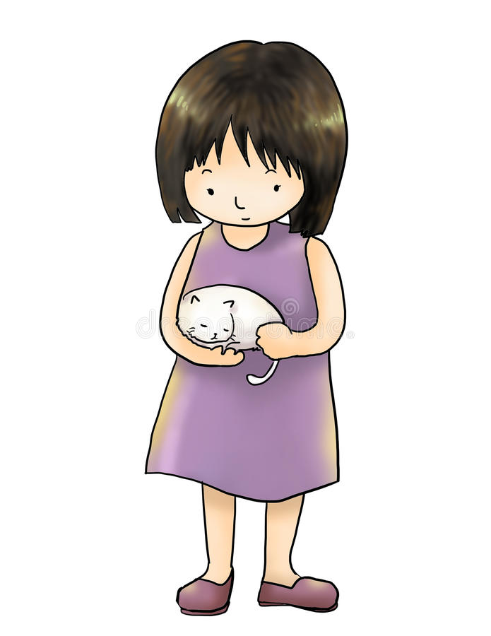 Girl with cat isolated white background. Cute girl with white cat vector illustration