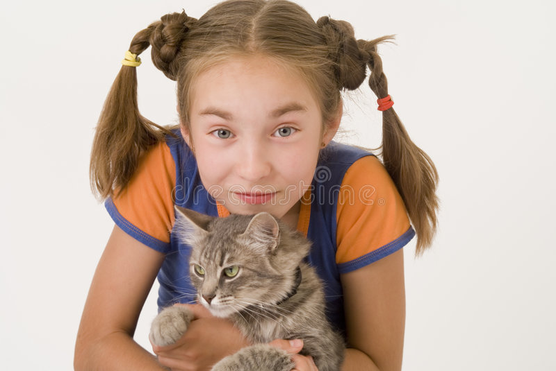 Download Girl with a cat IV stock image. Image of teen, attractive - 2945307