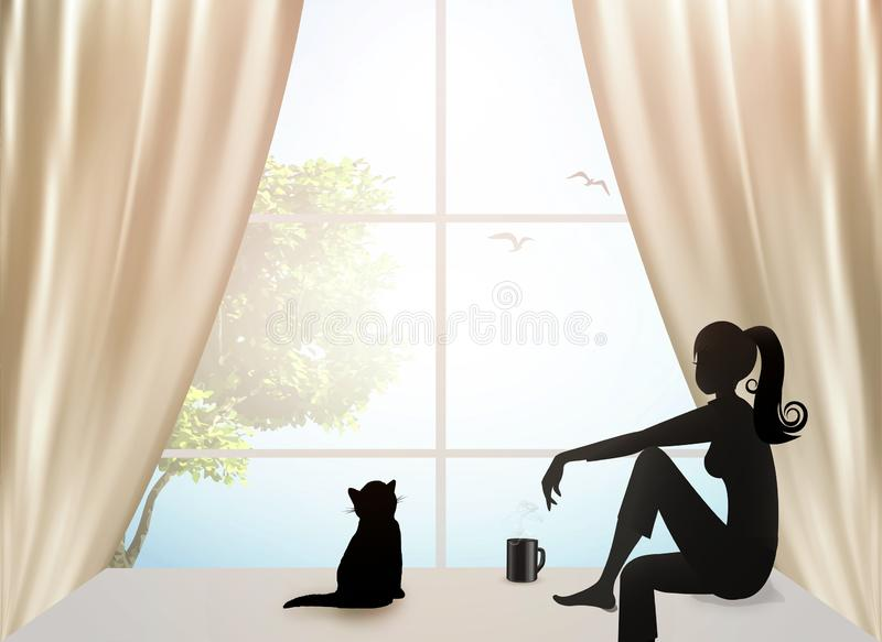 Girl with a cat looking out the window royalty free illustration