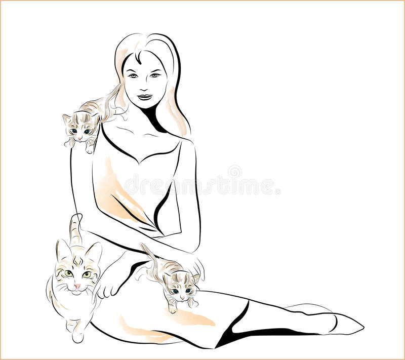 Download Girl and cats stock vector. Image of playful, graphic - 14906259