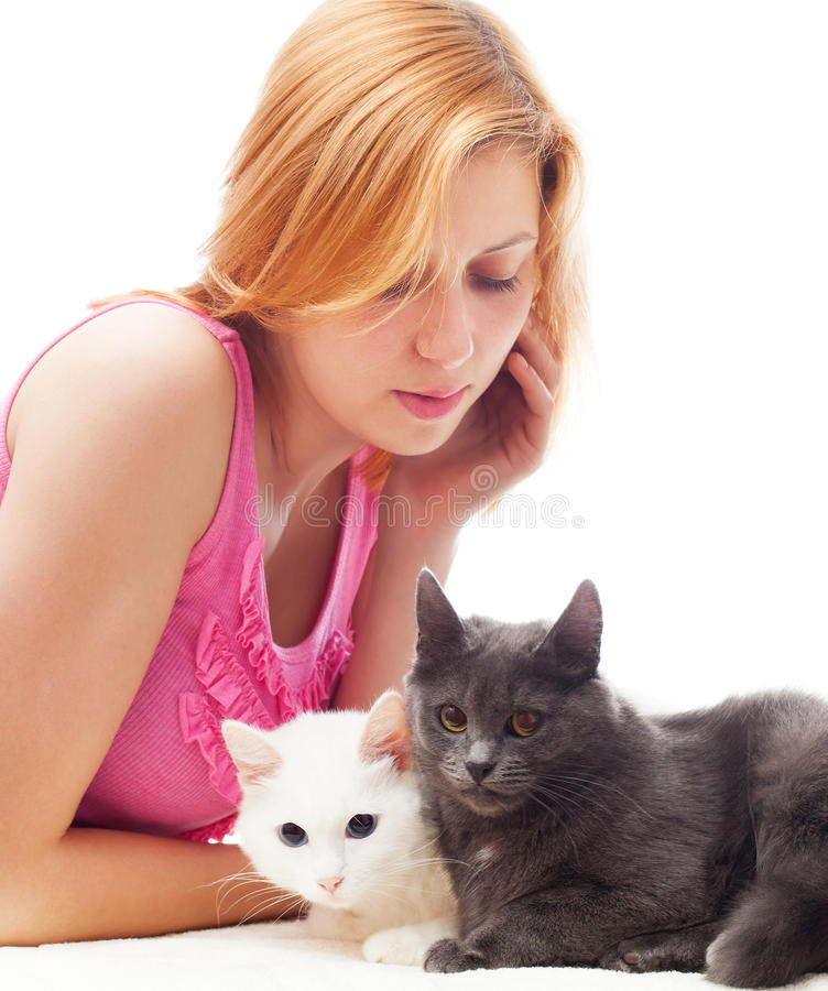 Download Girl and cats stock photo. Image of domestic, pets, young - 42812660