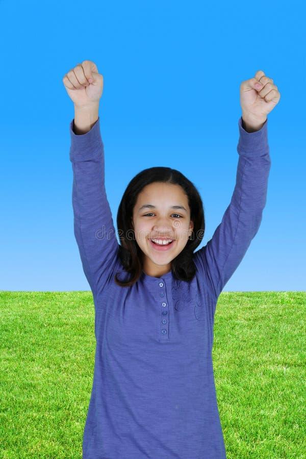 Girl Celebrating Outside