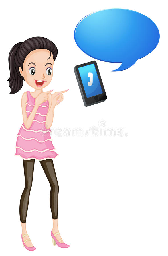 Download A girl with cell phone stock illustration. Illustration of colorful - 25426752