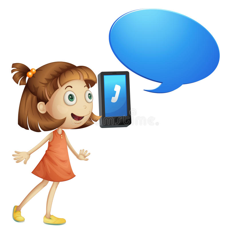 A girl with cell phone vector illustration