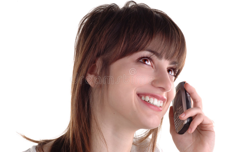 Girl with cellphone. Happy girl with cell phone stock photo