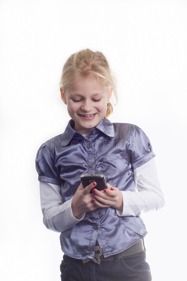 Girl With A Cellphone Stock Images