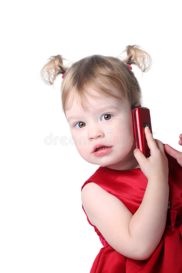 Girl with cellular stock photos