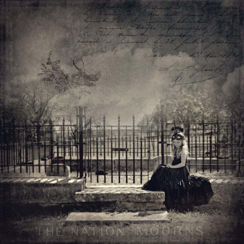 Girl cemetery sad. Sad young girl cemetery vintage fog moody royalty free stock image