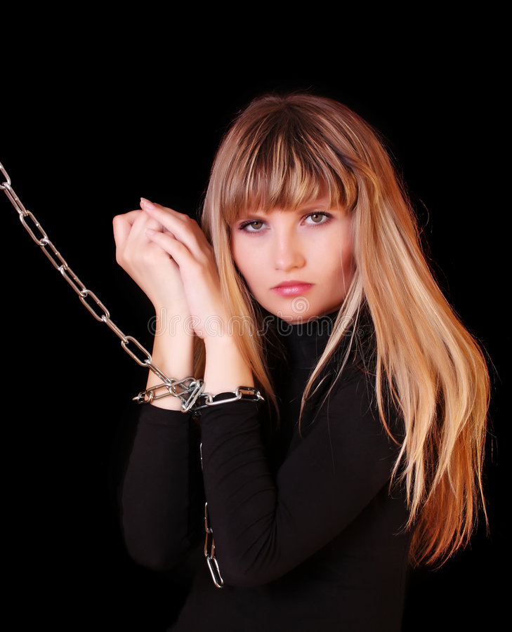 Download Girl with chain on hands stock photo. Image of chain, black - 8856916