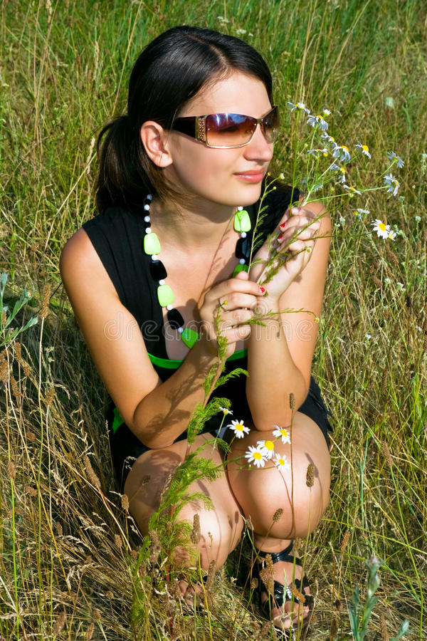 Download Girl with chamomile stock image. Image of model, attractive - 10629045