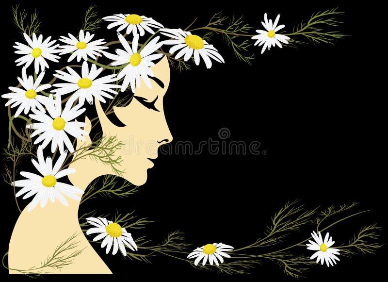 Girl and chamomiles stock illustration