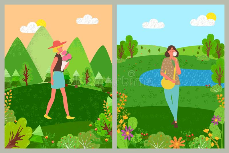 Womens Holiday, Female with Bouquet, Nature Vector. Girl character holding flower or bouquet, woman holding blossom, standing outdoor near trees, landscape view vector illustration
