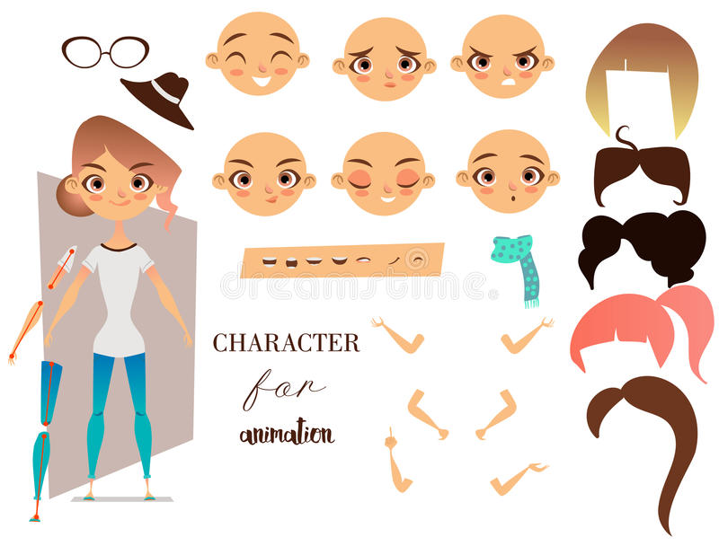 Girl character for your scenes and animation royalty free illustration