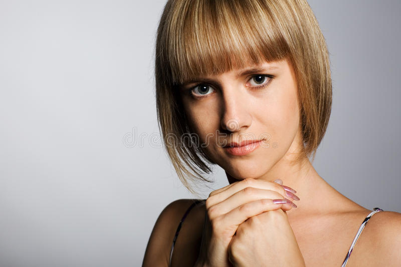 Girl with a charming look. royalty free stock images