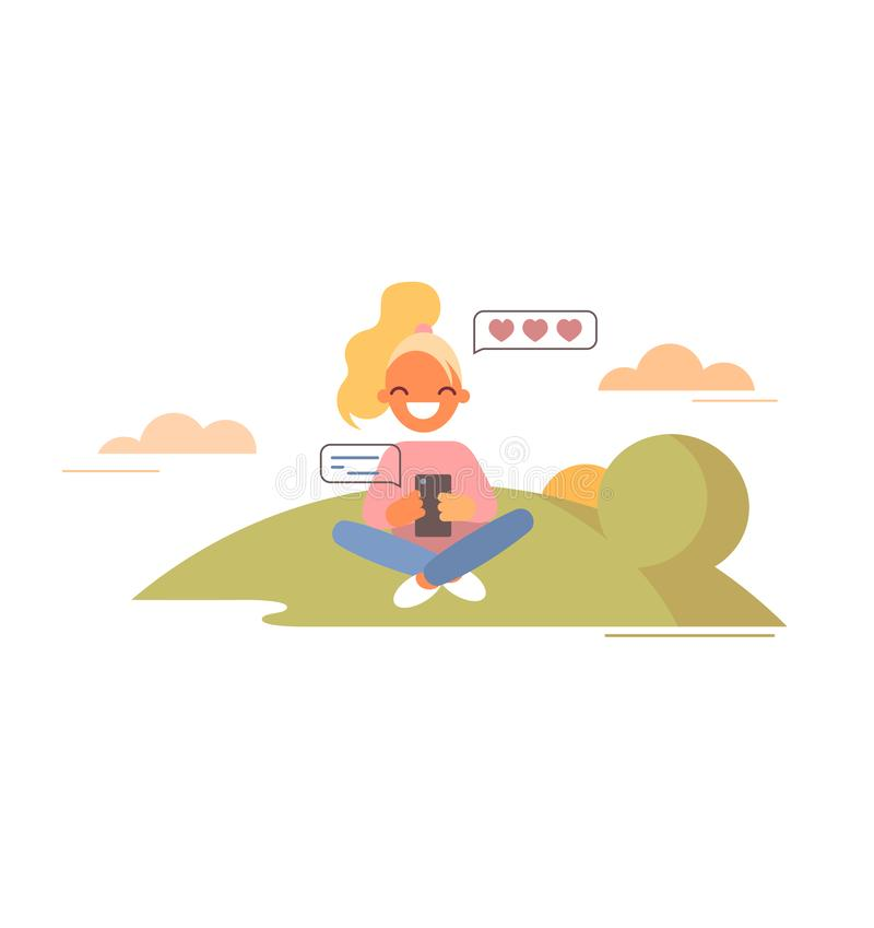 Girl chats and sends hearts message. Flat style vector illustration. Young woman seats on lawn and chats with someone she loves.  stock illustration