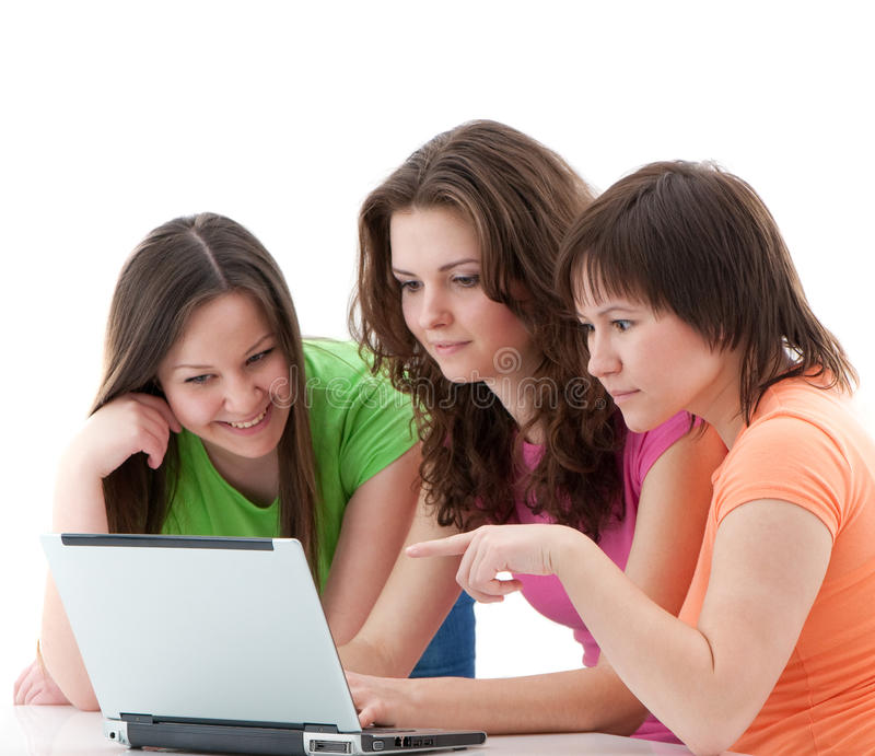 Girl chatting. Girls chatting in internet isolated royalty free stock image